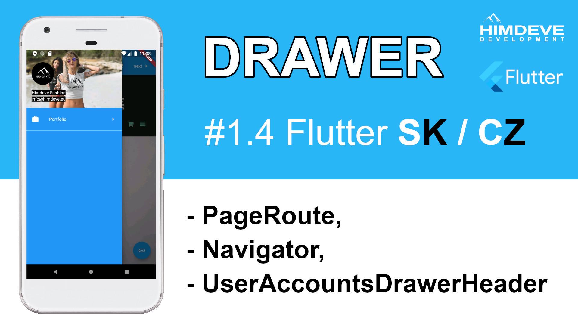 #1_4 Drawer Flutter SK / CZ tutorialy