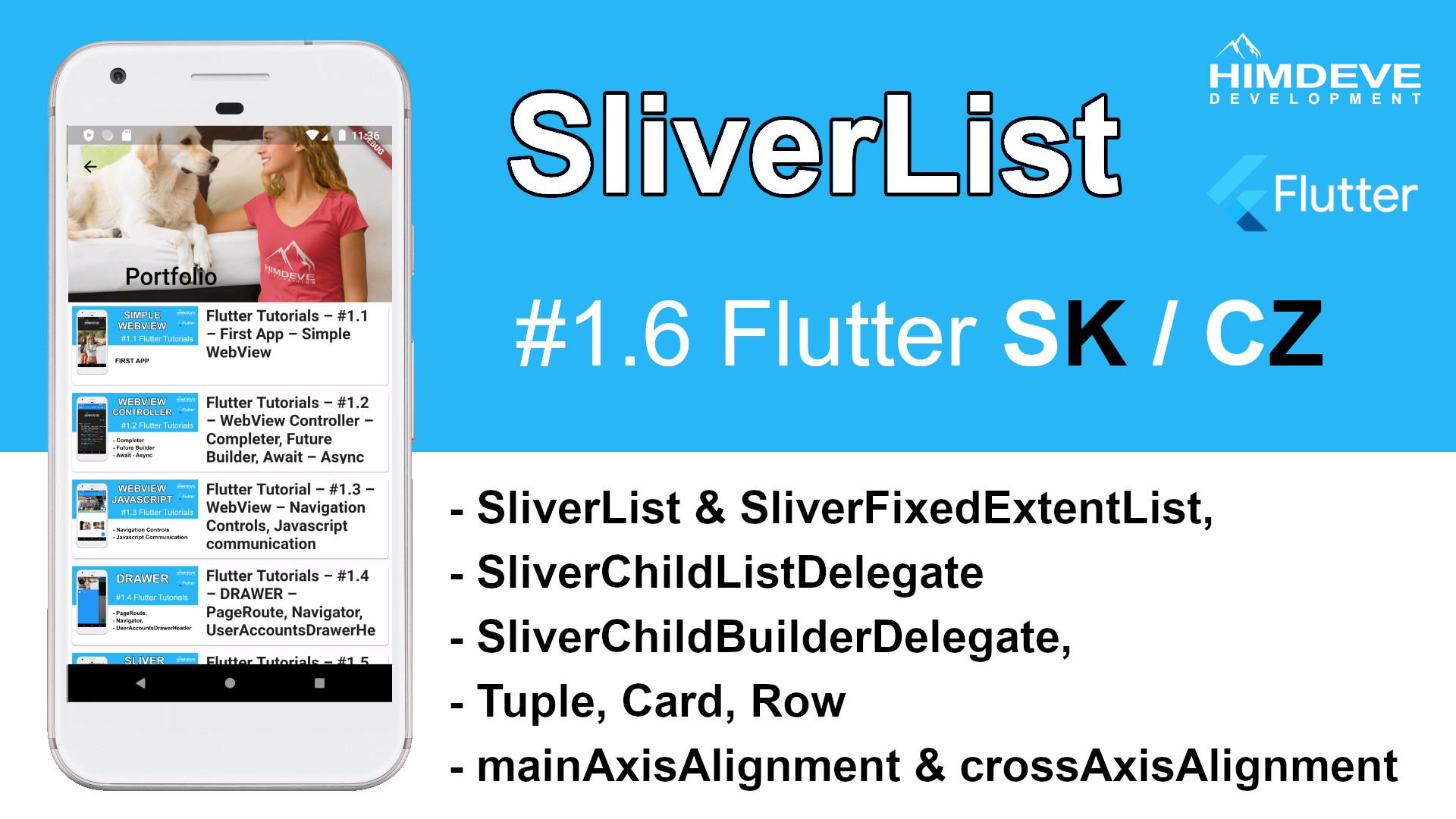 #1_6 SliverList Flutter SK / CZ tutorialy
