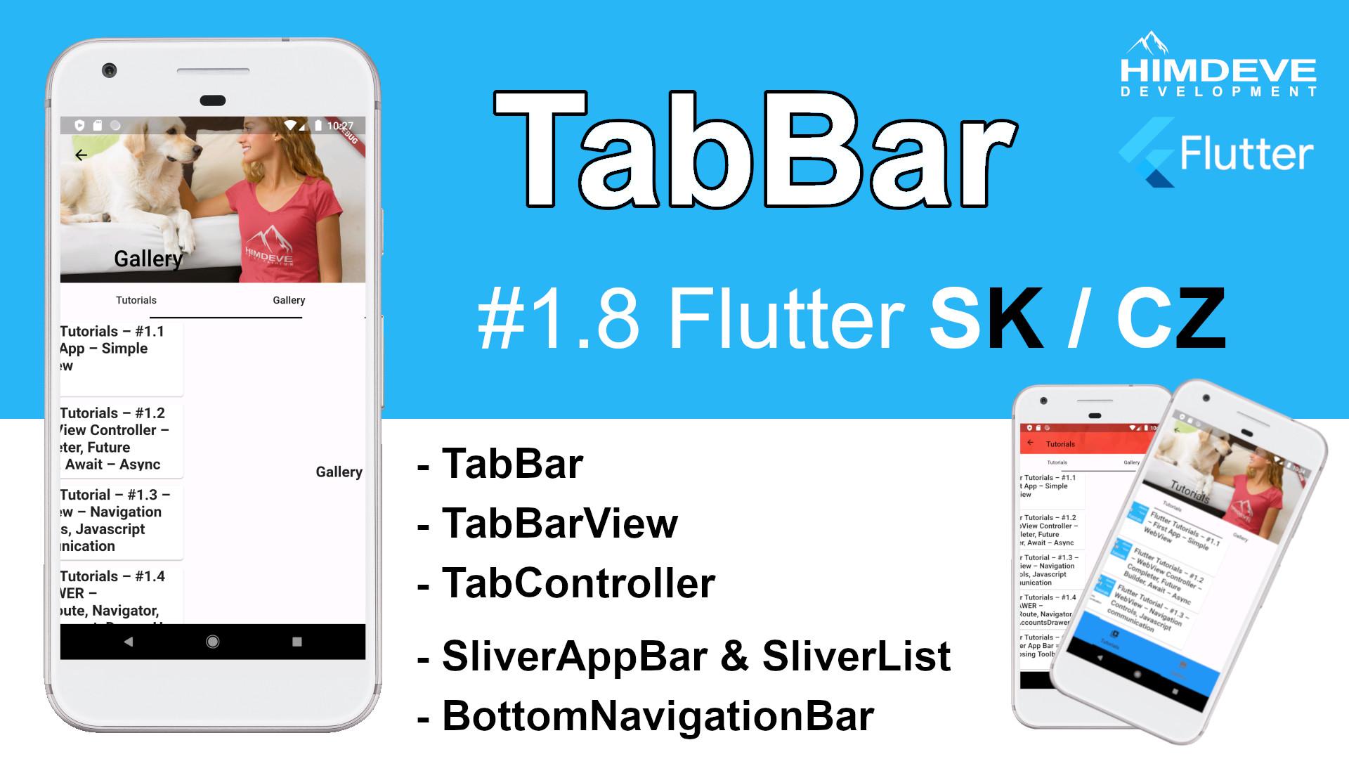#1_8 TabBar Flutter SK / CZ tutorialy